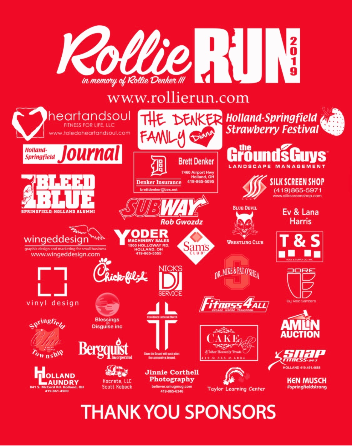 Sponsors for Rollie Run